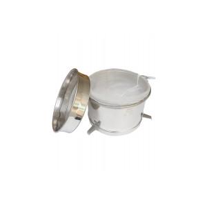 Filtro doppio piccolo con sacco nylon e prefiltro, per 50-100 kg, inox